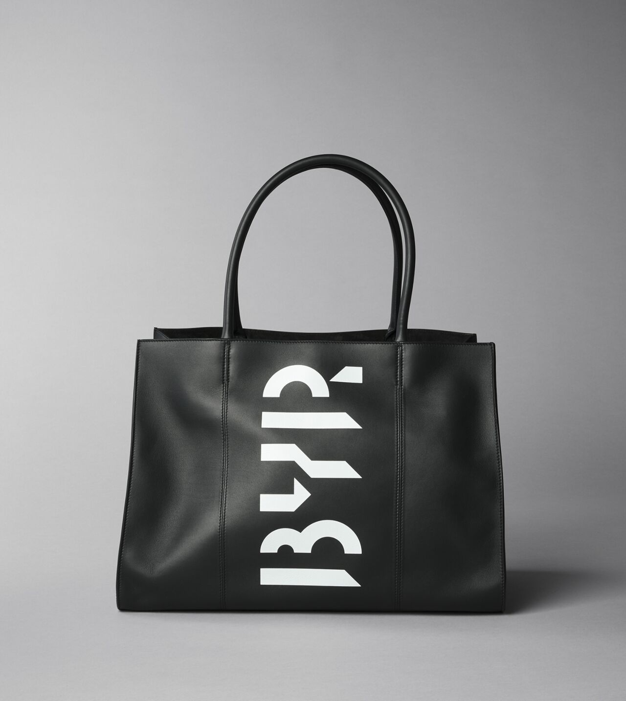 Picture of Byredo Best Coast bag in Black leather and white BYREDO logo print