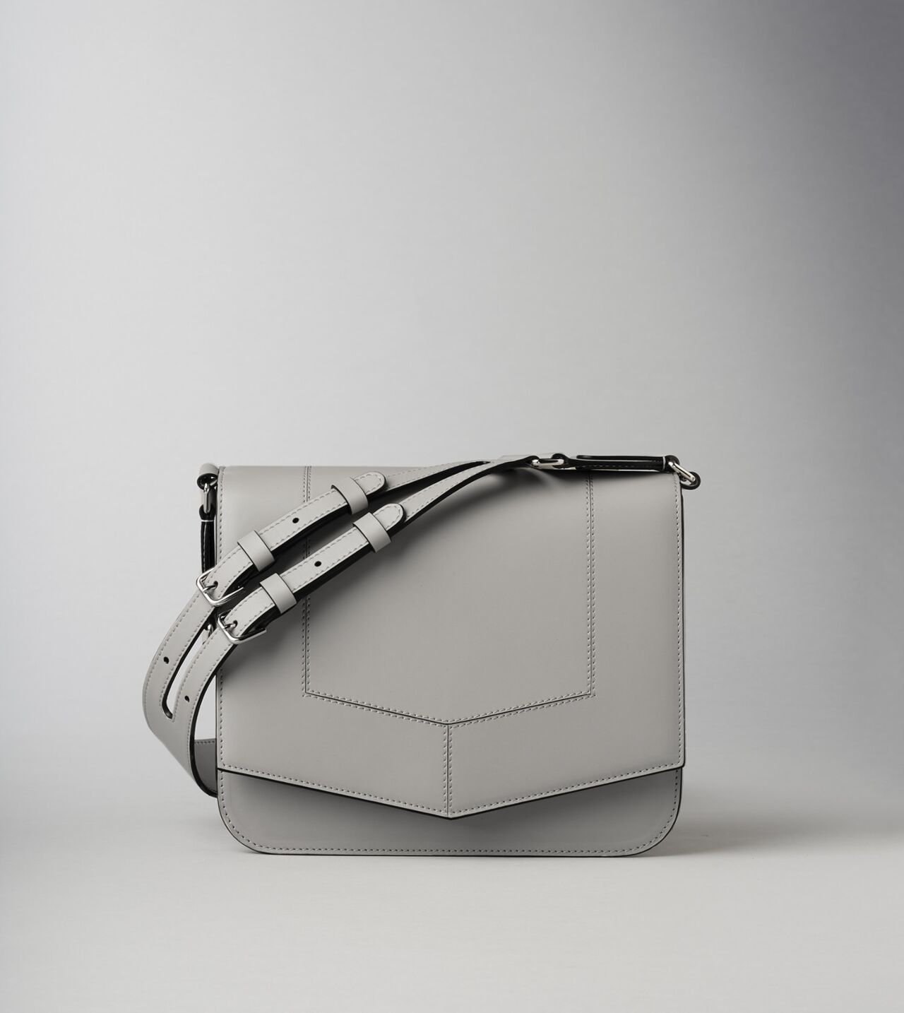 Picture of Byredo Circuit medium bag in Light grey leather and silver hardware